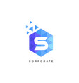 s blue hexagonal letter logo design with mosaic vector image