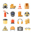 safety at work icons in a flat style vector image vector image