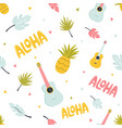 seamless pattern with hawaiian summer elements vector image
