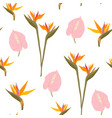 seamless pattern with tropical flowers creative vector image vector image