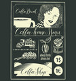 set design elements on coffee theme with girl vector image vector image