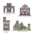 set san marino famous monuments in line vector image