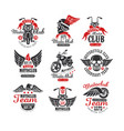 set vintage motorcycle club logos emblems vector image vector image