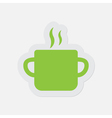 simple green icon - cooking pot with smoke vector image vector image