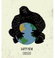 Threat world crisis placard black gorilla color vector image vector image