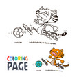tiger playing football cartoon coloring page vector image