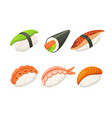 traditional japanese sushi and rolls asian vector image