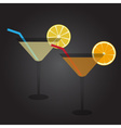 two glasses full of cocktail drink at party eps10 vector image