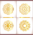 vintage gold round pattern set vector image vector image