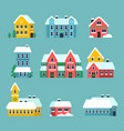 winter houses urban xmas holidays snowy city vector image vector image
