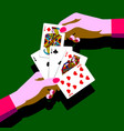 womans hands with playing cards fan vector image vector image