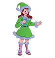 young lady in a green christmas elf costume vector image vector image