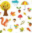 Autumnal seamless pattern with nature elements vector image
