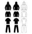 clothing silhouettes hoodie t-shirt and long vector image