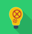 Idea icon Bulb with gears Modern Flat style with a vector image