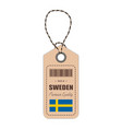 hang tag made in sweden with flag icon isolated on vector image