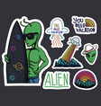 alien stickers vector image