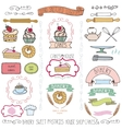 Bakery cakes Labels elementsDoodle logo template vector image vector image