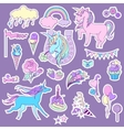 Blue and pink unicorns with sweets roses for vector image vector image