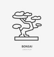 bonsai flat line icon thin sign of house vector image vector image
