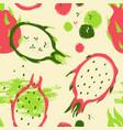 brush grunge dragon fruit seamless pattern vector image vector image