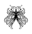 butterfly contour line art marker brush vector image