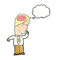 cartoon businessman with huge brain with thought vector image