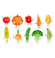 cartoon vegetable character healthy veggies food vector image vector image