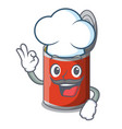 chef metal food cans on a cartoon vector image
