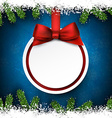 Christmas frame with fir branches and ball vector image vector image