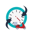 clock with arrow and scooter icon vector image vector image