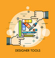 color palette pen pencil ruler eraser and two vector image vector image