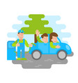 electro car refueling with happy people vector image