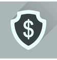 Flat icon with long shadow money shield vector image vector image
