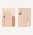 floral wedding boho invitation card dry flowers vector image