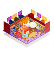 food court interior elements isometric vector image vector image