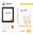 fries business logo tab app diary pvc employee vector image vector image