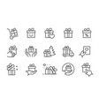gift box icon set collection present package vector image