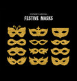 gold glitter carnival mask set for party event vector image