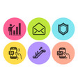 graph chart mail and escalator icons set 24h vector image vector image