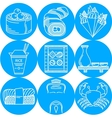 Japanese food blue round icons vector image