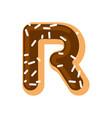 letter r donut font doughnut alphabet sweet vector image vector image