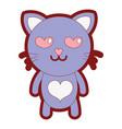 line color enamored cat cute feline animal vector image vector image