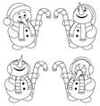 little snowman line art vector image