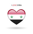 love syria symbol flag heart glossy icon on a