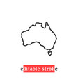 minimal editable stroke australia map icon vector image