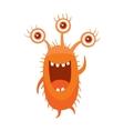 Monster with Three Eyes Cartoon Orange Germ vector image