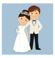 princely style couple on blue background vector image vector image