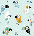 seamless childish pattern with colorful parrots vector image