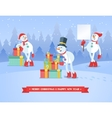 set snowmans christmas background vector image vector image